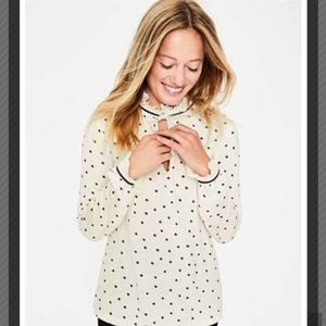 Boden NWT white polka dot ruffle sleeve blouse,10